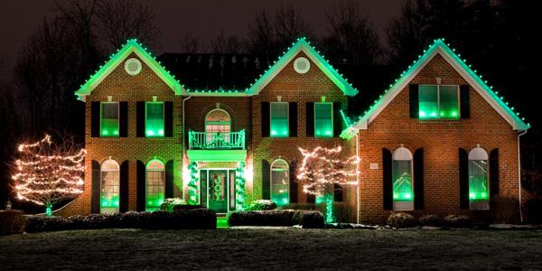 green floodlights